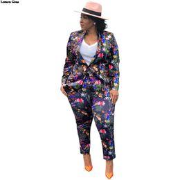 Vestuário para mulheres on-line-Lemon Gina impressão floral pescoço entalhado manga comprida blazers calças compridas ternos conjuntos de 2 pcs das mulheres do escritório senhora roupa treino LGF75