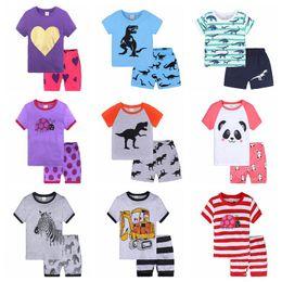 Meninos pijamas calções de algodão on-line-Verão 2019 Conjuntos de Pijama das Crianças de Algodão Do Bebê Meninas de Manga Curta Dos Desenhos Animados Sleepwear Crianças Meninos roupas de algodão 3-8 T