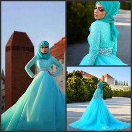 hijab rendas vestido de noiva de tule Desconto 2019 Novos Vestidos de Casamento Hijab Árabe Azul Tule Rendas De Cristal Vestidos De Noiva A Linha Sweep Trem de Manga Comprida Vestidos de Casamento Muçulmano Custom Made