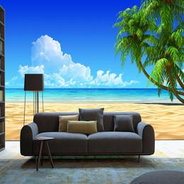 Pintura de playa blanca online-Fondo de pantalla de paisaje de árbol de coco de playa personalizado 3d cielo azul mediterráneo y nubes blancas pintura sala de estar TV pared de fondo