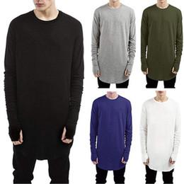 t-shirt manches longues Promotion vente en gros 2019 nouveaux hommes t-shirt doux à manches longues avec des trous de pouce brassard Tee Tops Casual