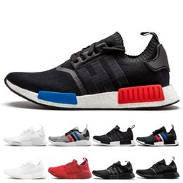 negro gris r1 Rebajas Zapatillas deportivas R1 Primeknit Runner para hombre Mujer OG negro Triple Negro Blanco Rojo Diseñador tri-Gray blanco azul para mujer Zapatillas de deporte