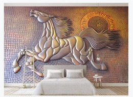 gold wallpaper for bedroom Promo Codes - Custom Photo Wallpaper For Walls Creative 3D three-dimensional gold embossed running horse bedroom background mural wall paper for walls 3d