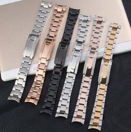 Bandas de reloj sólido online-20 21 mm negro plata cepillado 316L acero inoxidable sólido correa de reloj correa correa pulseras para Submariner papel hombres Mental Logo en