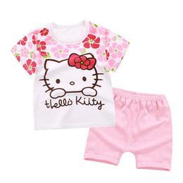 Olá Kitty Adorável Baby Girl Roupas Conjuntos 2019 Roupas de Roupas de Verão Do Bebê Menino de