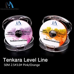 nivel de linea de peces Rebajas Máxima captura Tenkara Level Line 50M 2.5 # / 3.0 # Fluorocarbon Tenkara Fly Fishing Line Pink / Orange