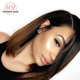 front laced short wig Promo Codes - Honrin Hair Full Lace Wig Short Bob Ombre Color 360 Lace Wig Pre Plucked Peruvian Virgin Human Hair Bleached Knots Lace Front Wig