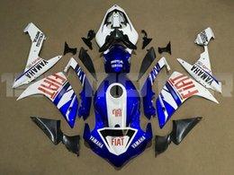 carenados personalizados r1 Rebajas 4 Nuevos regalos de Moldeo por inyección de ABS llena de la motocicleta de carenados Fit Kit para YAMAHA YZF-R1 R1 2007-2008 YZF R1 07 08 conjunto de carrocería azul de encargo blanca