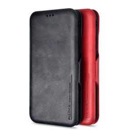 Iphone folding kickstand en Ligne-iphone Xs Max X Xr Étui en cuir véritable Étui à rabat pliable avec fentes pour cartes Kickstand Couvercle à fermeture magnétique pour iphone 7 8 plus