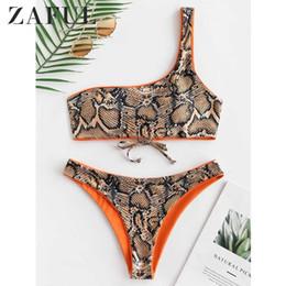 47052f06d375 Zaful Snakeskin Print One Shoulder Reversible Bikini Set Women Two Pieces  Sets Reversible Bikini Wirefree One Shoulder Swim Sets Q190521