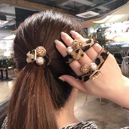 Élastiques de couleur perle en Ligne-Pearl Leopard mignon Kiss Me Elastiques cheveux fille femmes Bracelet cheveux corde Stretchy Extensions Anneaux Rose Noir Couleur Bleu