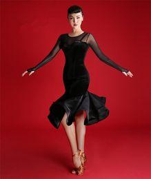 tango kleider Rabatt 2019 Neue Erwachsene / Mädchen Latin Dance Kleid Salsa Tango Cha Cha Ballsaal Wettbewerbspraxis Tanzkleid Schwarz sexy schlank Langarm Samt Dres