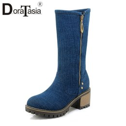 690d03f3c861 DoraTasia New 6cm Wide High Heels Zip Non-slip Round Toe Shoes Woman Casual  Party Winter Spring Mid Calf Boots Students