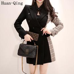 coreani blazer Sconti Nuove donne coreane autunno plaid patchwork nero blazers ufficio signora doppio petto Slim lungo blazer cappotto manica lunga giacca