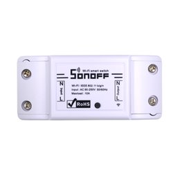 Automazione di illuminazione online-Itead Sonoff Basic Wifi Switch Telecomando fai da te Domotica Light Smart Home Automation Relay Module Controller Lavora con Alexa
