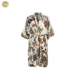 v profundo vestido de praia pescoço Desconto Beach Dress Verão Mulheres senhoras New profunda V Neck Kimono manga Floral cópia do estilo Bohemian Roupas joelho Designer