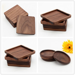 Coasters De madeira Noz Preto Cup Mat Taça Tigela de Café Chá Taças Placas de Jantar Cozinha Casa Bar Ferramentas de