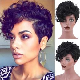 Sentetik Kısa Peri Kesim Peruk Siyah Kadınlar için Dalgalı Isıya Dayanıklı Saç cheap cut synthetic wig nereden sentetik peruk kes tedarikçiler