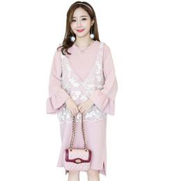 2019 Nueva maternidad ropa de enfermería flare manga vestido sólido + chaleco de encaje 2 piezas trajes mujeres embarazadas de algodón embarazo Causal Set Q457 desde fabricantes