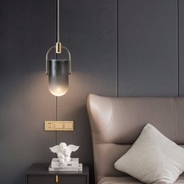 Lampadario in vetro di fumo online-Moderna Grigio fumo Pendant Light Glass Chandelier Bar LED del salone della casa del soffitto Lamp Fixture PA0067