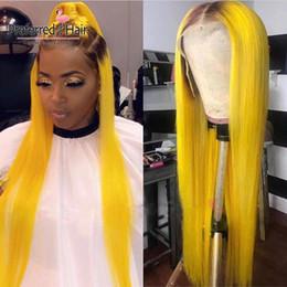 pelo verde brasileño Rebajas Prefiere la peluca verde del pelo humano Remy brasileño 613 recta peluca del frente del cordón con el pelo del bebé Glueless Ombre amarillo pelucas para las mujeres Y190713