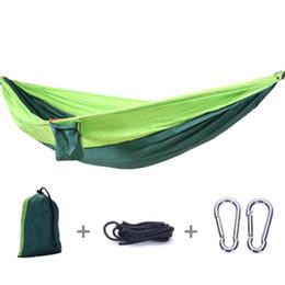 Camas de rede on-line-Outdoor Hammocks de acampamento portáteis 2 Pessoas Parachute Nylon Tecido Dormir Hammock viagem Caminhadas Haning Bed Mobiliário Outdoor 270 * 140 centímetros