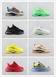 bolsas de canoa impermeable al por mayor Rebajas 2019 Zapatos para hombre de Triple S running Mujer de lujo diseñadores de moda Formadores de color topo Multi claras Sole Triple-S zapatillas de deporte de caminar