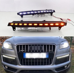 Ampoules menées de drl en Ligne-Pour Audi Q7 2006 2007 2008 2009, Jaune Lumière De Signal De Signal Voiture DRL Étanche 12 V LED Lumière Courante Brouillard Lampe Ampoule