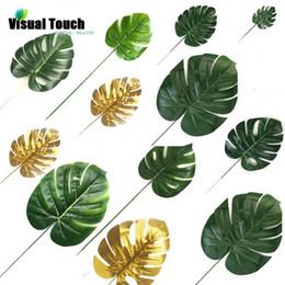 folhas falsas diy Desconto Visual Touch 12 pcs Set 2 Cores Artificial falsa Monstera palma deixa plantas verdes casamento DIY arranjo decoração planta folha
