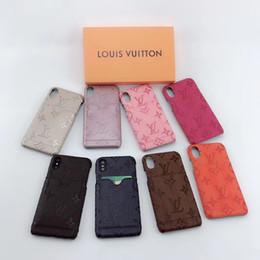 Uma cobertura x on-line-Um pedaço de luxo designer de casos de telefone para iphone x iphone 7 plus case tampa traseira logotipo da marca caso de telefone móvel com cartão de bolso