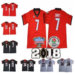 UGA Georgia Bulldogs  7 DAndre Swift 3 Todd Gurley II 27 Nick Chubb 10  Malik Herring Championship Sugar Bowl Jersey 58c393c11