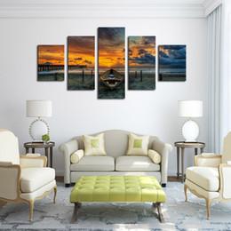 2019 acrílico pintura paisajes marinos Pintura de rosas en acrílico No Frame 5 Panel Paisaje marino y barco con HD Impresión con lienzo con letra grande Para sala de estar Decoración del hogar acrílico pintura paisajes marinos baratos