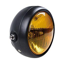Faro modificado online-Faros de motocicleta Yellow Cafe Racer Head Light Decorativo Metal Luces Iluminación Modificado Moto Luz trasera