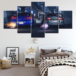 2019 pannelli a torre eiffel 5 piece HD Stampa Dipinti Grande Skyline GTR VS Supra auto moderna decorativi su tela di canapa di arte della parete per la decorazione domestica della parete della decorazione