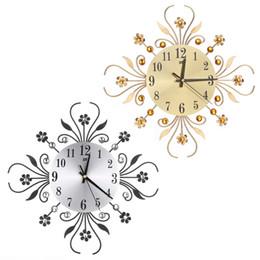 moderne metalluhr Rabatt Moderne Metall Große Wanduhren Neue Blume Diamant Strass Silent Home Decor DIY Wohnzimmer Antiken Stil