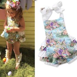 Paskalya 2019 Yenidoğan Bebek Kız ins Giyim Çocuklar Prenses Mor Bunny Dantel Halter Romper Bebek Giyim kız sevimli tavşan Tulum C53 cheap bunny romper nereden bunny romper tedarikçiler