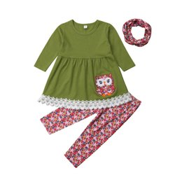 2019 Newest Style Toddler Kids Baby Girl 3PCS Cute Animal Tops Dress+Floral  Pants+Scarf Adorable Outfits Set Clothes 1-6T adorable baby boy clothes  outlet 25fd465fd933