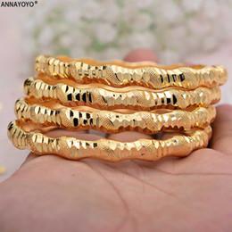bracelets africains Promotion Annayoyo 4pcs nouvelle mode 24K couleur or bracelets de mariage pour les femmes mariée bracelets éthiopien / france / africaine / Dubaï bijoux cadeaux