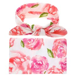 Manta de marca online-Estrenar de la impresión floral neonatos que reciben Swaddle Manta diadema Conjunto del abrigo de la toalla