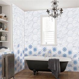 3D Pegatinas de piso Azul Blanco Mármol de porcelana Antideslizante Impermeable Etiqueta de la pared para baño Cocina Papel autoadhesivo desde fabricantes