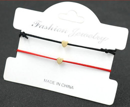 2019 formas de encantos afortunados 40 pcs / 20 conjunto de cobre amor coração forma encantos pulseiras corda sorte pulseira vermelha para as mulheres corda vermelha ajustável pulseira artesanal diy formas de encantos afortunados barato