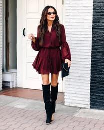 Elegentes rotes kleid online-Sommer-Weinlese-lange Hülsen-Minikleid Frauen klassische Elegent Bluse Partei Strand-beiläufige Kleider Red S-XL Sutra Grid Texture