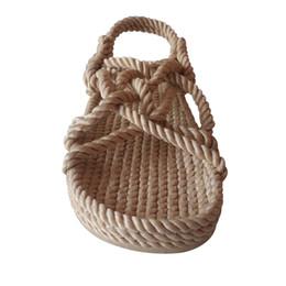 Uomini sandali fatti a mano online-Infradito fatto a mano Sandali da corda per donna Uomo Unisex Scarpe estive Sandali da spiaggia naturali Infradito da moda Infradito Beige