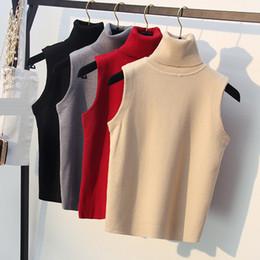 2020 colete de malha grossa Jacket Mulheres High Neck Vest Grosso Primavera Outono mangas capuz camisola de malha de alças Feminino Turtleneck Knit colete de malha grossa barato