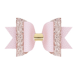 große glitterbögen Rabatt Schöne Bow Hair Glitter Große Größe 10,5 cm Haarnadel Nette PU Leder Haarnadel Modish Mädchen Prinz Haarspange Bowknot Clip 9 farben