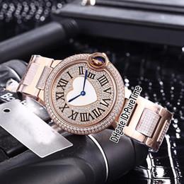 2019 женские наручные часы Новый 36 мм Розовое Золото All Diamond Love Heart Циферблат Синие Руки Швейцарские Кварцевые Женские Женские Часы Спортивные Ювелирные Часы 7 Стилей Дешевые B18d4 дешево женские наручные часы