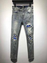 3115acb980 2019 NOUVEAU Mens Mens déchirure déchiré Biker Jeans Slim Fit mendiant bleu  patch Biker Denim Fashion Designer Pants Hommes Jeans