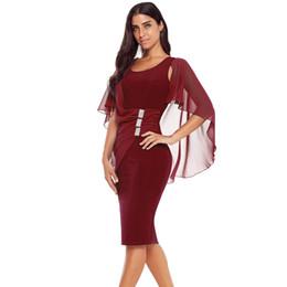 1300bf8476ce 2018 Nova U-pescoço mangas curtas gaze xale apertado meados saia  assimétrica na altura do joelho vestido feminino