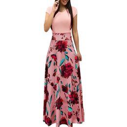 Vestido de noite europe novo on-line-Nova europa e américa estilo mulheres impressão floral maxi dress moda venda quente verão evening party elegante longo dress j190621