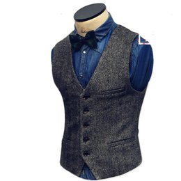waistcoats v neck for suit Promo Codes - Mens Suit Vest V Neck Wool Brown Grey Single-breasted Waistcoat Casual Formal Business Groomman For Wedding Slim Fit Vest